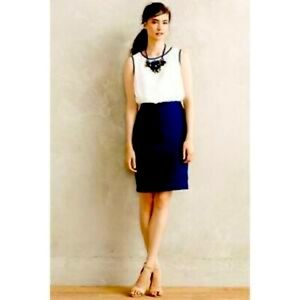 Maeve two toned blue and white textured dress 6